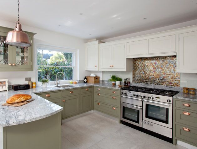Before and after Modern kitchen with metallic mosaic splashback 3