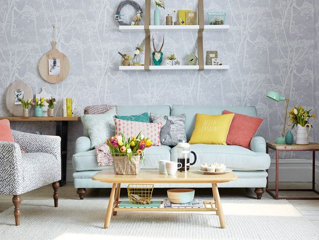 Modern country living room with daffodil yellow colour pops 1