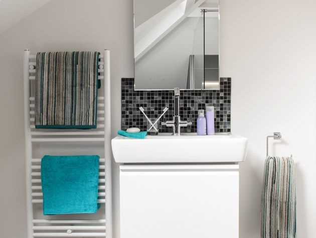 Before and after contemporary monochrome bathroom makeover 2
