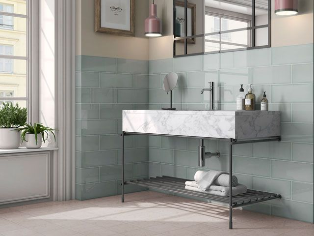 large duck egg subway tiles in a modern stylish bathroom from the memory lane collection by walls and floors