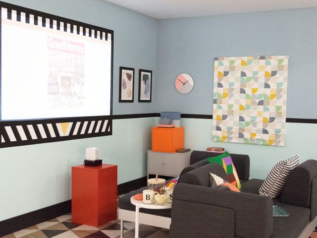 media room featuring multi functional furntiure at the good homes roomset at ideal home show 2018 projector