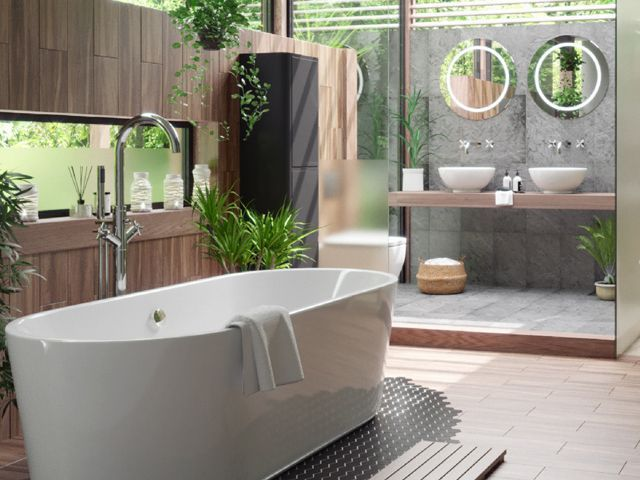 tropical plants in a bathroom by victoria plum