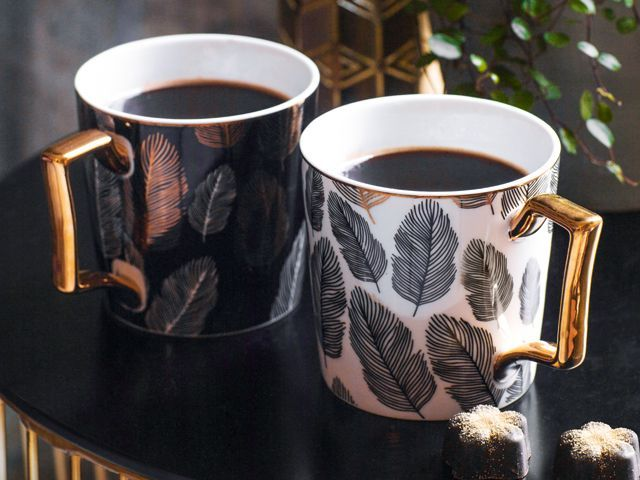 tesco fox and ivy mugs and cups with gold metallic feather print from their ss18 homeware collection