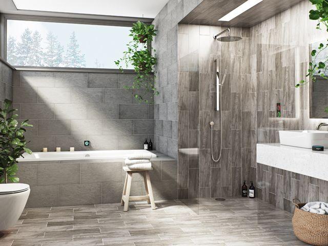 grey tiled bathroom with shower, bath and sink integrated smartap digital home system