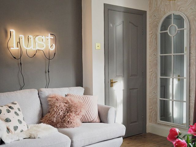 Lustliving blogger's sofa and mirror in her living room for interior design project revamp restyle reveal