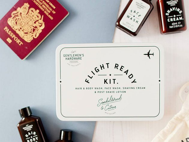 mens flight kit with travel sized toiletries fathers day present idea