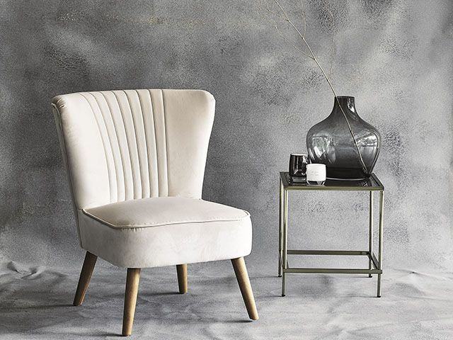 argos home everyday luxury range featuring a cream velvet chair, smoky vase and side table for aw18 - living room - goodhomesmagazine.com