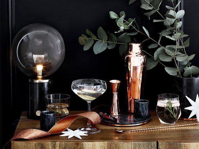Side table decor turned into a cocktail station -debenhams-living-room-goodhomesmagazine.com