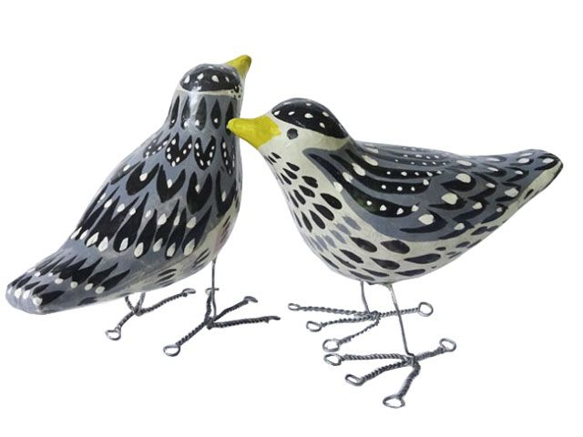 Grey, white and black hand painted birds ornament -sarah-campbell-designs-shopping-goodhomesmagazine.com