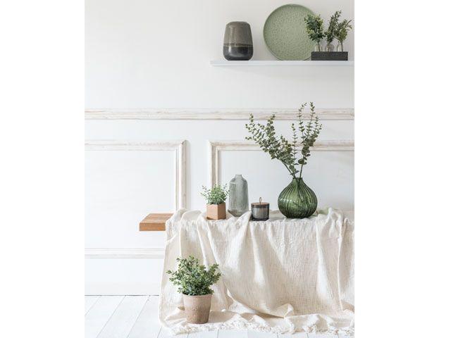Maisons du Monde SS19 Paper Shop trend featuring indoor plants in green vases -maisons-du-monde-living-room-goodhomesmagazine.com