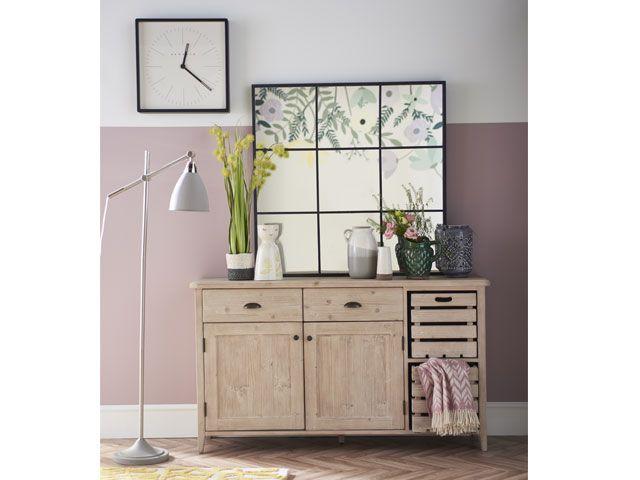 Wooden side cabinet with decorative botanical framed print -living-room-goodhomesmagazine.com