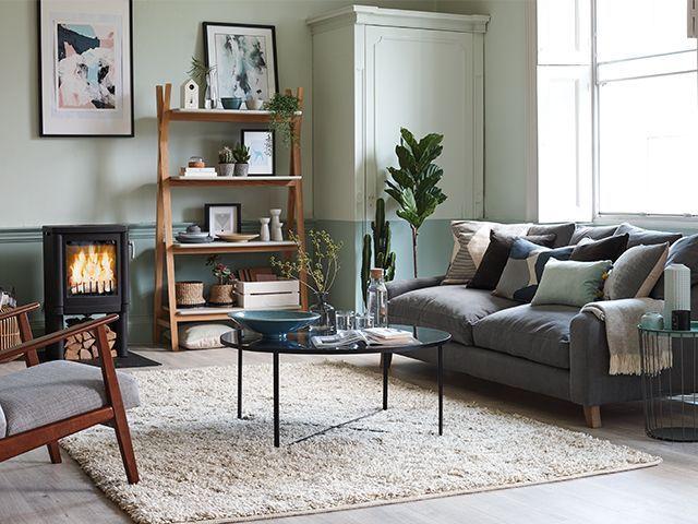 Nordic living room with sofa and log burner