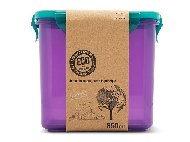 Lakeland eco food container in purple and teal