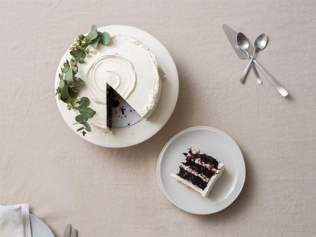 A tablescape with an alternative, white cake centrepiece -trouva-living-room-goodhomesmagazine.com