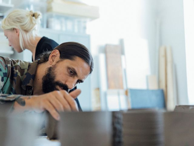 ben gorham from byredo checking fragranced candles for new collection with IKEA