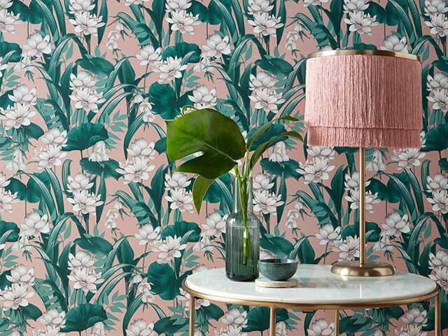 blush pink and green wallpaper with lotus flowers - accessorize wallpaper top picks - goodhomesmagazine.com