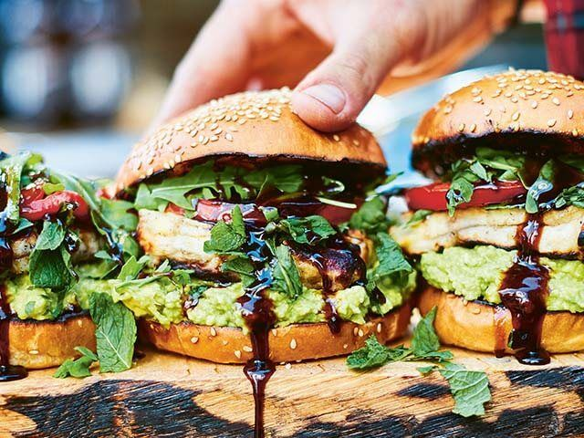 grilled halloumi burgers with avocado - easy bbq recipes - Fire Food: The Ultimate BBQ Cookbook - goodhomesmagazine.com