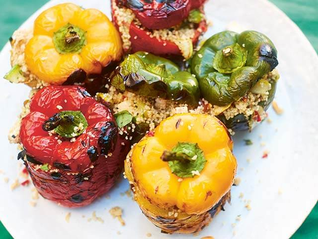 stuffed peppers with cous cous - easy bbq recipes - Fire Food: The Ultimate BBQ Cookbook - goodhomesmagazine.com