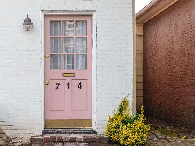 pink front door with numbers - news - goodhomesmagazine.com