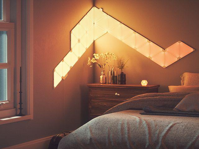 nanoleaf light panels sunrise function - bedroom - goodhomesmagazine.com