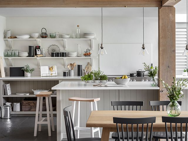 garden trading country style kitchen with open shelving - goodhomesmagazine.com