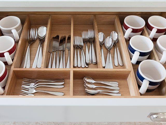 humphrey munson cutlery drawer with mug storage in shaker kitchen - goodhomesmagazine.com