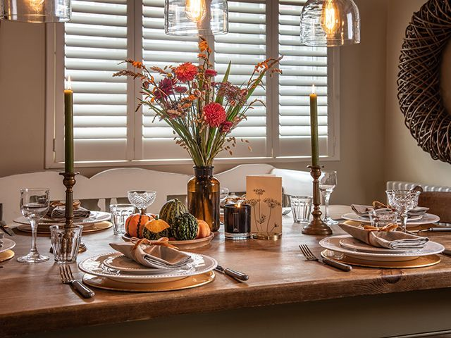 Autumnal rustic dining room scheme from The Post House - goodhomesmagazine.com