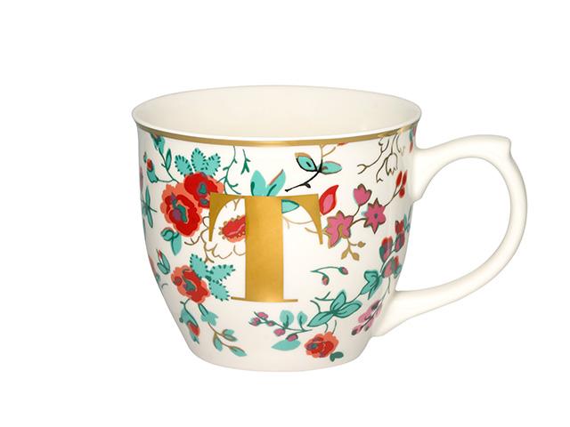 Millfield Rose Mug embellished with the initial 'T' - secret santa gift ideas goodhomesmagazine.com