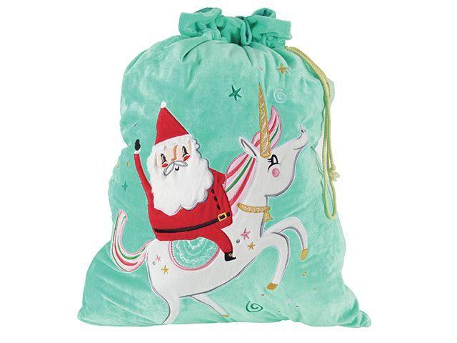 sainsburys home santa and unicorn christmas sack for gifts - goodhomesmagazine.com
