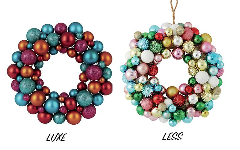 wreathsnew - luxe vs less: christmas decorations - shopping - goodhomesmagazine.com