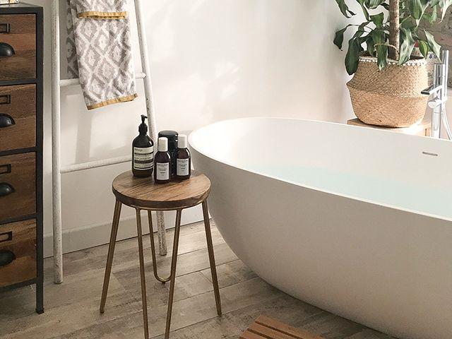 cult furniture hairpin stool in spa bathroom - bathroom - goodhomesmagazine.com