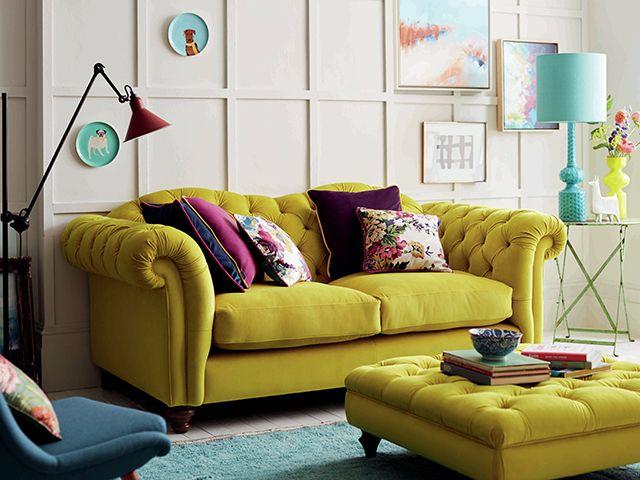 dfs yellow velvet sofa 2010s trend - goodhomesmagazine.com