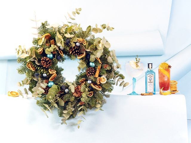 wreath cocktail - Bombay Sapphire has released a Christmas gin wreath - news - goodhomesmagazine.com