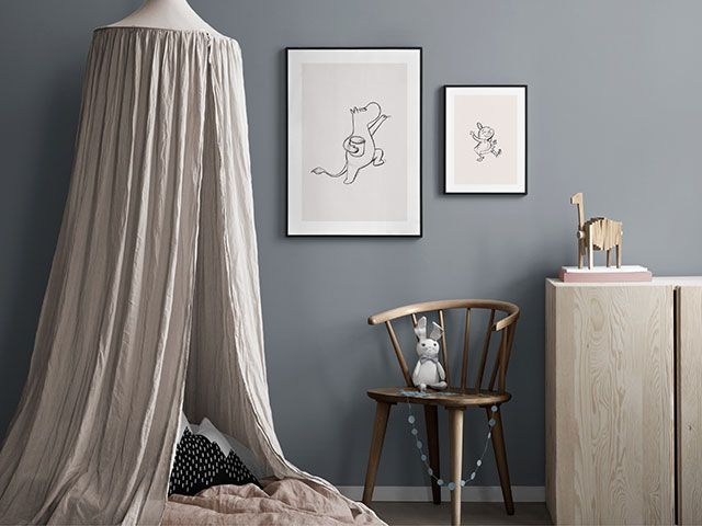 Child's bedroom with moomin wall art prints from desenio - goodhomesmagazine.com