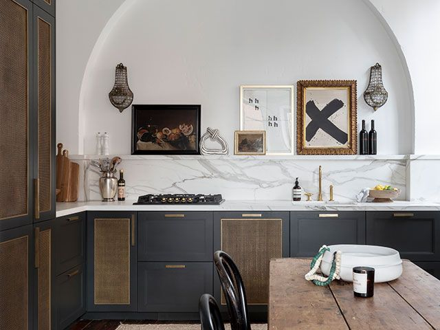 shaker kitchen with rattan insets and luxury picture shelf - billy bolton - goodhomesmagazine.com
