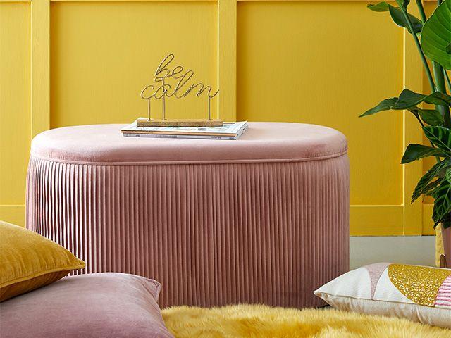 dunelm ottomansquare - 5 of the best velvet ottomans - bedroom - goodhomesmagazine.com