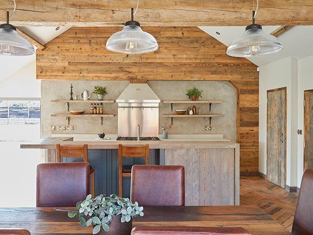 main company wood and concrete rustic kitchen - goodhomesmagazine.com