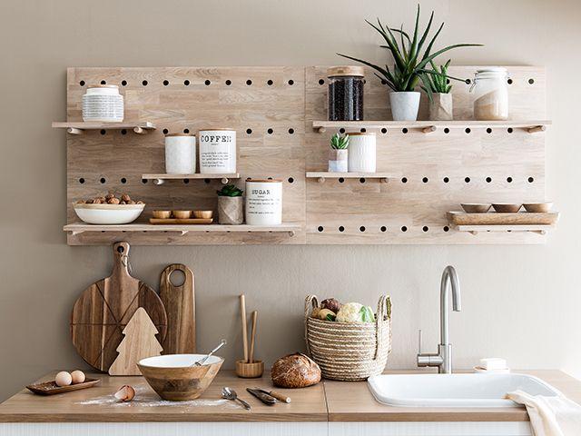 maisons du monde mounted kitchen shelving pegboard - goodhomesmagazine.com