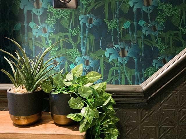 tropical wallpaper in dark hallway - budget hallway updates we love - hallway - goodhomesmagazine.com