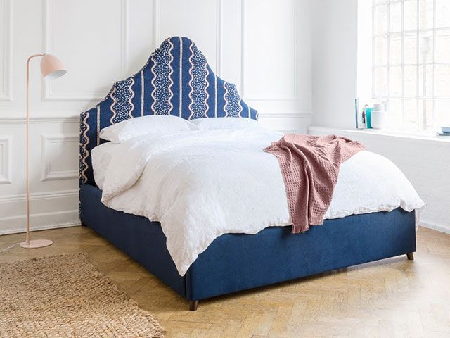 sofas and stuff curved headboard with blue and pink pattern - goodhomesmagazine.com