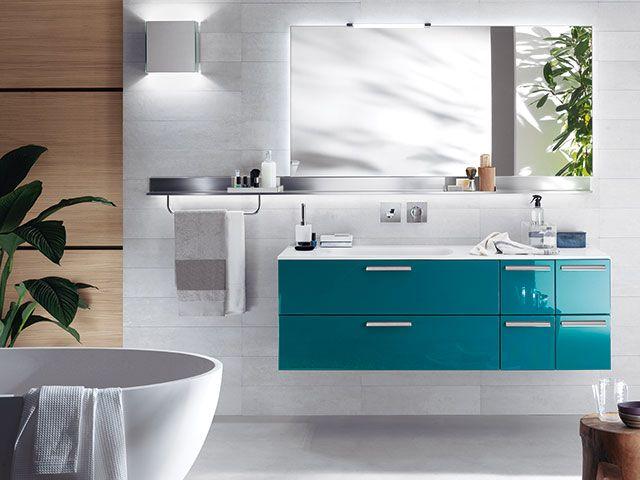 aqua teal vanity unit in modern bathroom - goodhomesmagazine.com