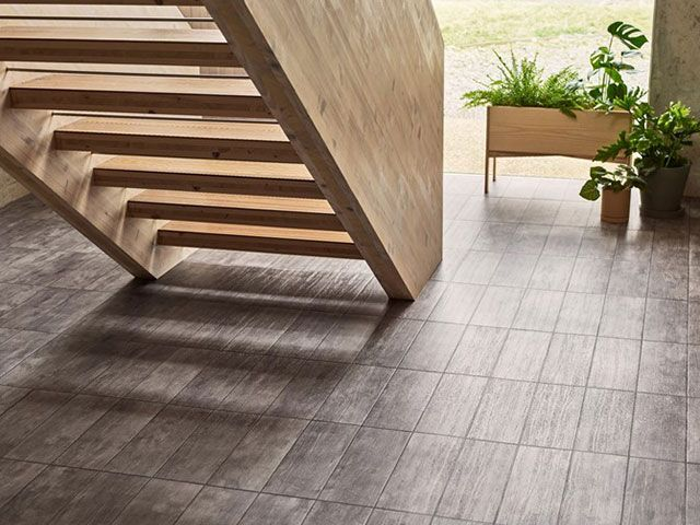 amtico signature trace scree flooring in contemporary setting for ideal home show roomsets - good homes