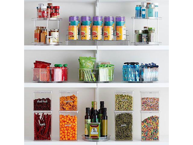 kitchen storage in clear boxes - goodhomesmagazine.com