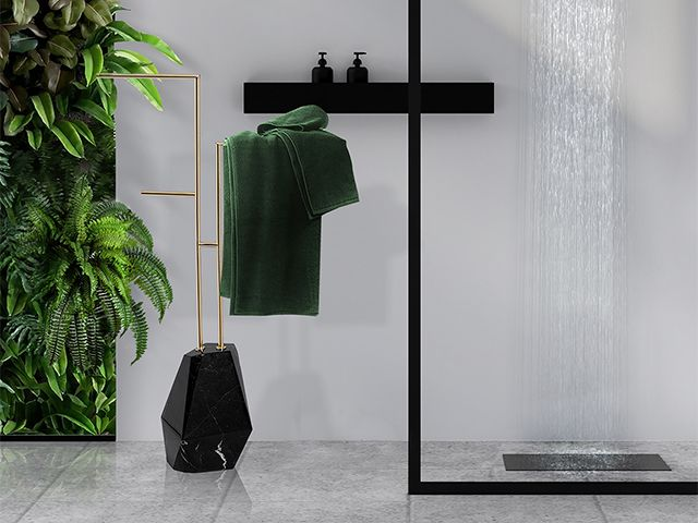 marble and black shower - how to get the look of this designer bathroom for less - bathroom - goodhomesmagazine.com