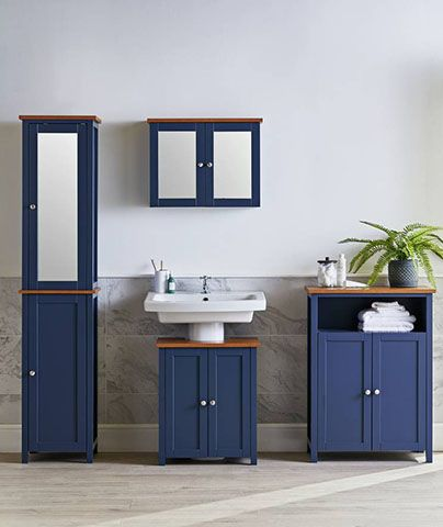 navy bathroom cabinets - 6 of the best storage solutions for decluttering - inspiration - goodhomesmagazine.com