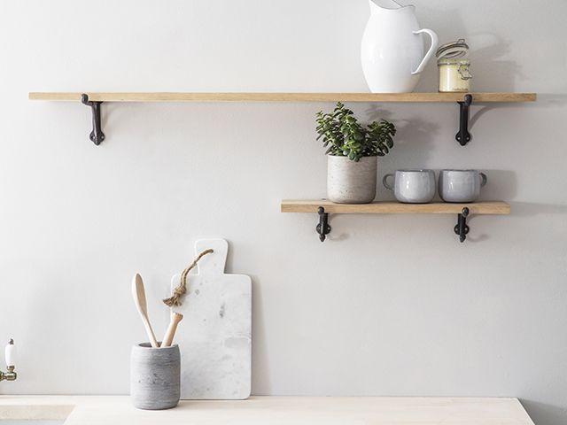kitchen shelving with iron brackets - goodhomesmagazine.com