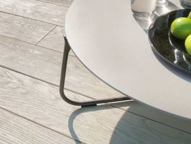 close up of outdoor decking with table and fruit