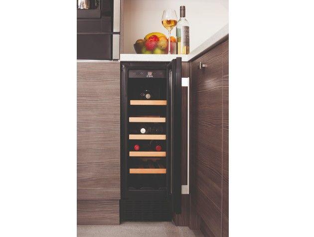 corner of kitchen with open wine cooler wine bottles inside