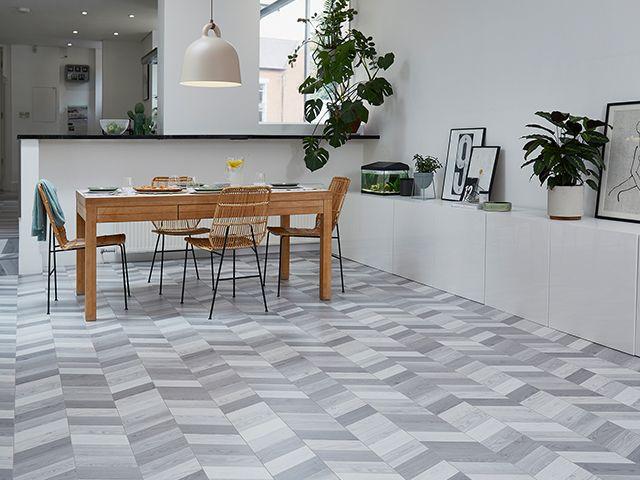 grey herringbone floor - 5 flooring design trends for 2020 - inspiration - goodhomesmagazine.com