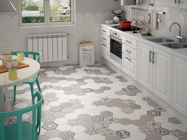 hexagon patterned tiles - 5 flooring design trends for 2020 - inspiration - goodhomesmagazine.com